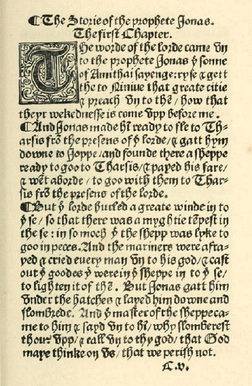 Image of Jonah 1:1-6 as translated by William Tyndale